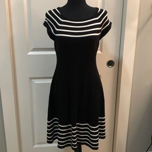 Black and white knit dress